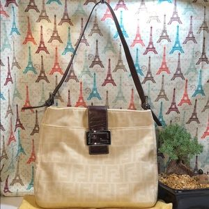 Authentic Fendi Canvas Shoulder Bag